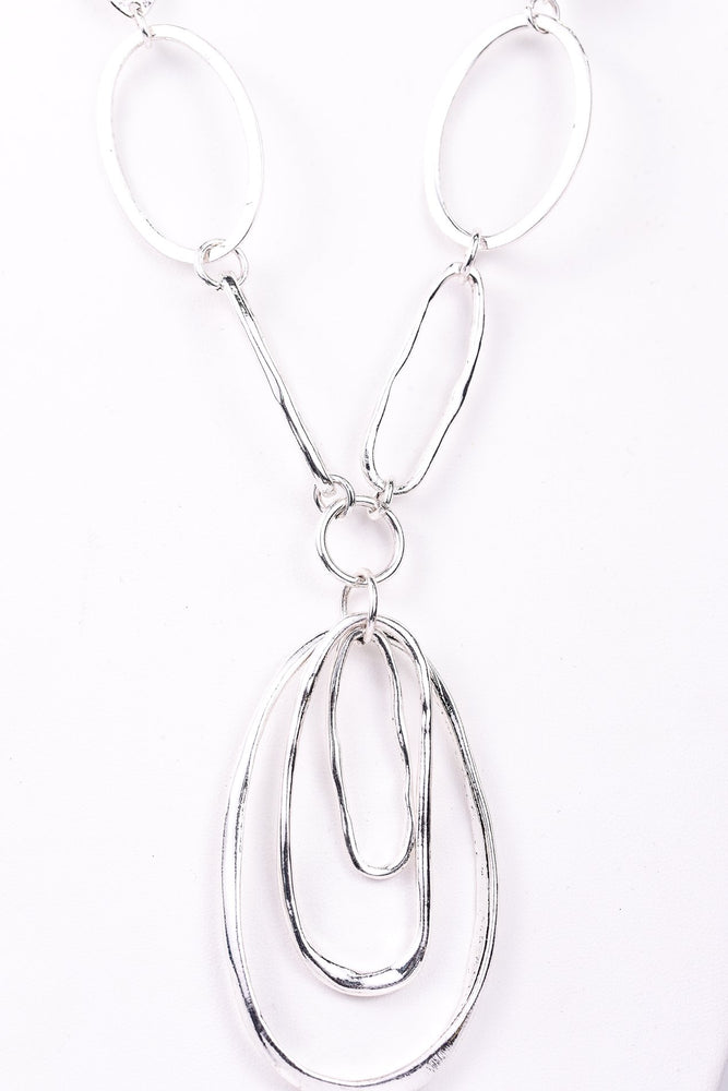 Silver Link/Layered Oval Pendant Necklace - NEK3139SI
