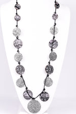 Black Cord With Gray/Black Snakeskin/Silver Hammered Round Pendants - NEK3136BK