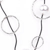 Black Cord With Silver/Black Circles/Pearl Beaded Necklace - NEK3137BK