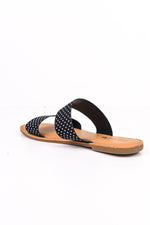 Walking On The Boardwalk Black/White Polka Dot Sandals - SHO1737BK
