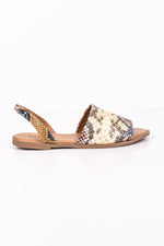 The Way You Walk Tan/Blue Snakeskin Sandals - SHO1738TN