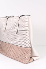 Giving It My All White/Taupe/Latte Colorblock Bag - BAG1351WH