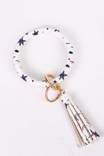 White/Red/Navy Star Keyring With Tassel - KRG1004WH