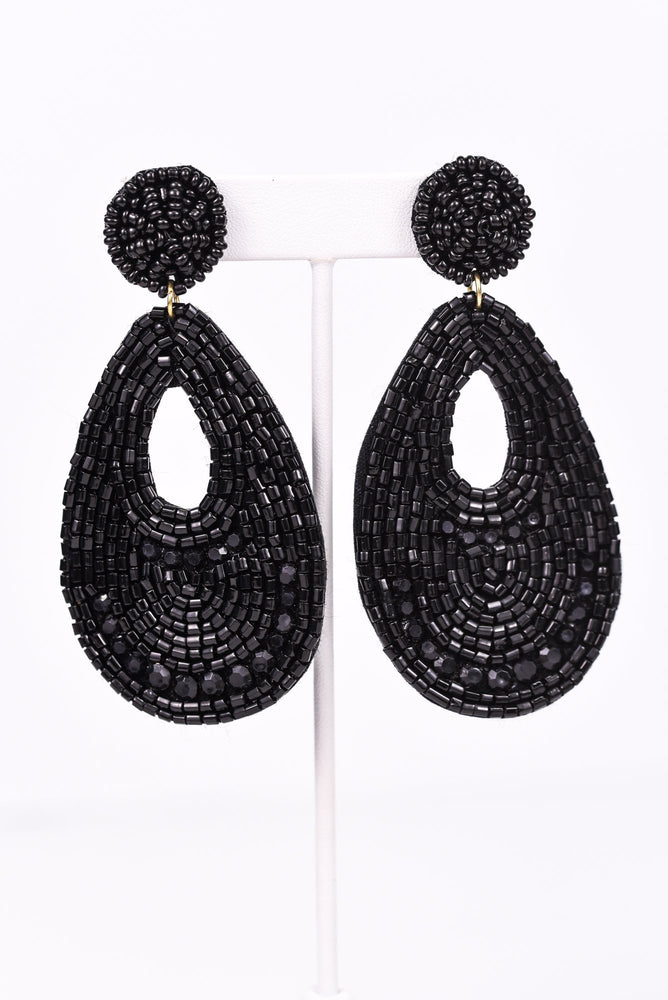 Black Seed Bead Teardrop Earrings - EAR2803BK