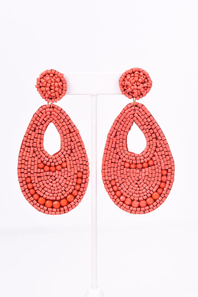 Red Seed Bead Teardrop Earrings - EAR2805RD