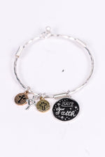 'Have Faith' Silver/Black Multi Charm Clasp Closure Bracelet - BRC2493SI