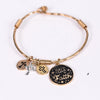 'Have Faith' Gold/Black Multi Charm Clasp Closure Bracelet - BRC2492GO