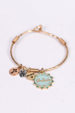 'Believe' Gold/Mint Multi Charm Clasp Closure Bracelet - BRC2494GO
