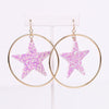 Lavender/Multi Color Glitter Star Gold Hoop Earrings - EAR2811LV