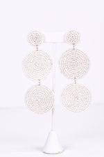 White 3-Tier Seed Bead Earrings - EAR2795WH