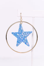 Light Blue/Multi Color Glitter Star Gold Hoop Earrings - EAR2810LBL