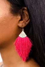 Fuchsia/Gold Hammered Fringe Tassel Earrings - EAR2761FU