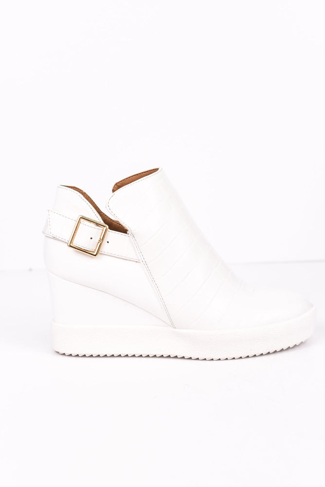 Totally Unforgettable White Crocodile Wedge Booties - SHO1741WH