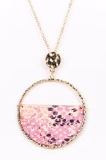 Gold/Pink Snakeskin Pendant Necklace - NEK3167GO