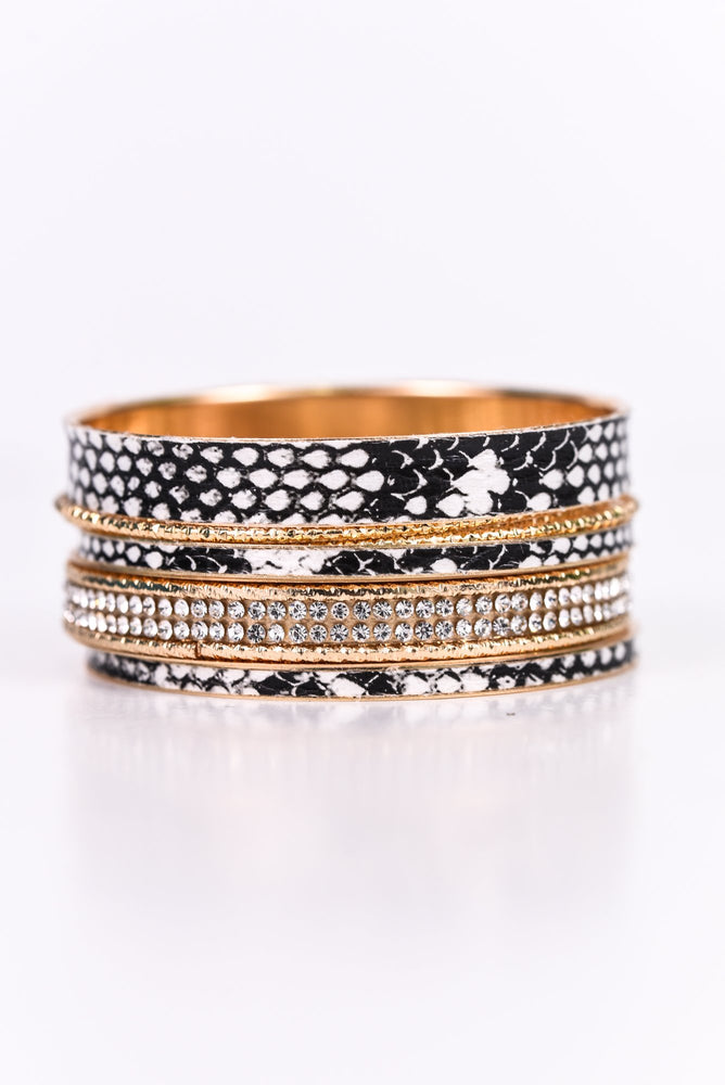 White Snakeskin/Gold/Bling Stackable Bangle Bracelet - BRC2525WH