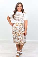 Ready To Twirl White/Multi Color Floral Skirt - E1042WH