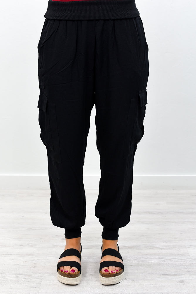 Cargo On Without You Black Joggers - PNT1125BK