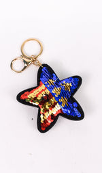 Red/Blue/Gold/Silver Sequins Star Keychain - KEY1088RD