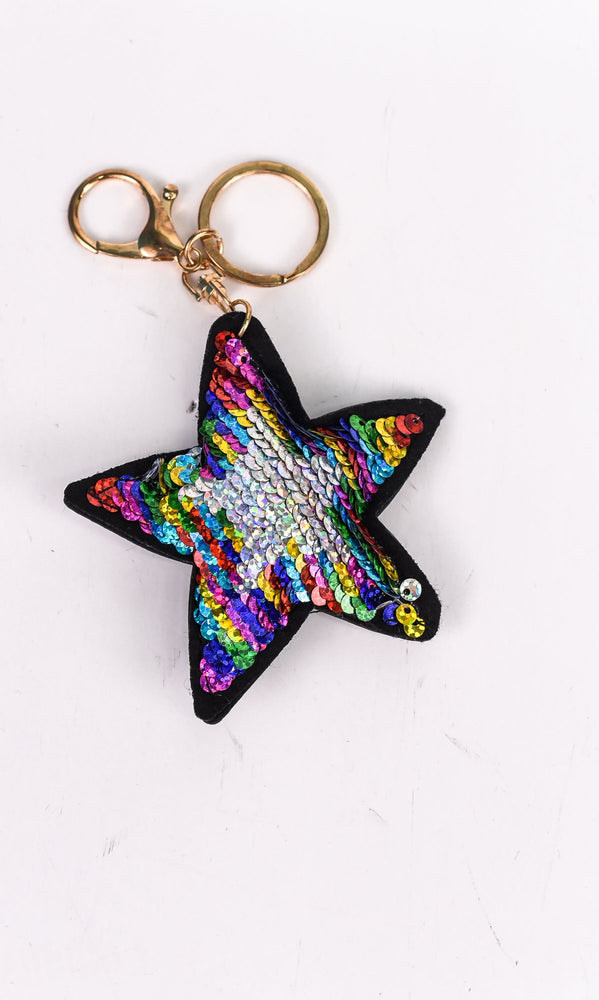 Multi Color/Silver Sequins Star Keychain - KEY1089MU
