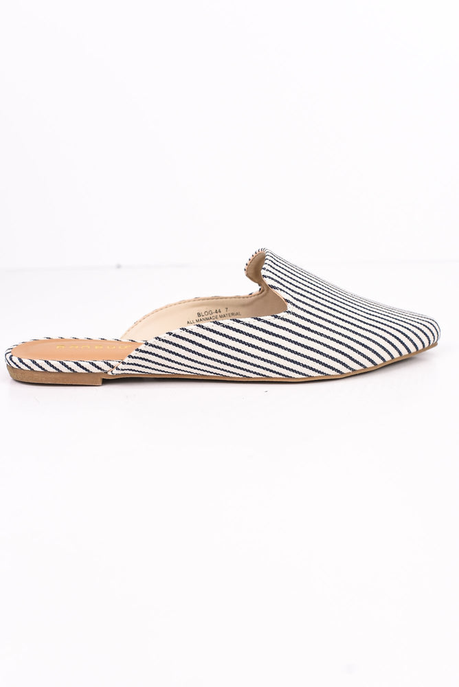 Smooth Sailing Navy Striped Mule Shoes - SHO1747NV