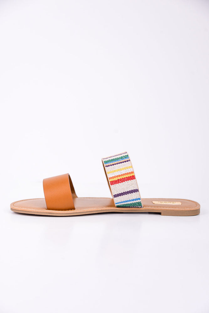One Step Ahead Camel/Multi Color Striped Sandals - SHO1761MU