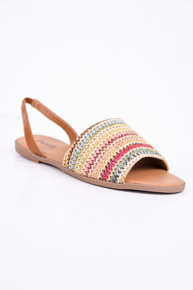 The Way You Walk Beige/Multi Knit Sandals - SHO1781BG