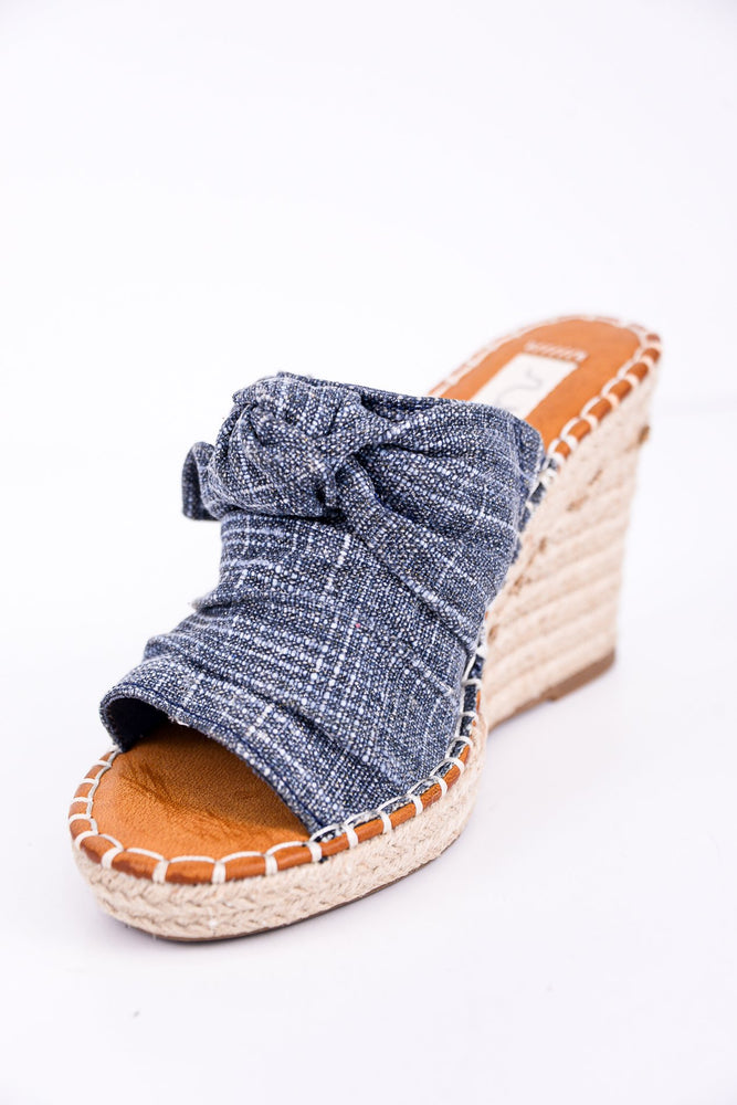 Make It On My Own Navy Sparkle Denim Espadrille Wedges - SHO1791NV