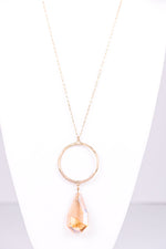 Gold Hammered Hoop With Champagne Teardrop Pendant Necklace - NEK3173GO