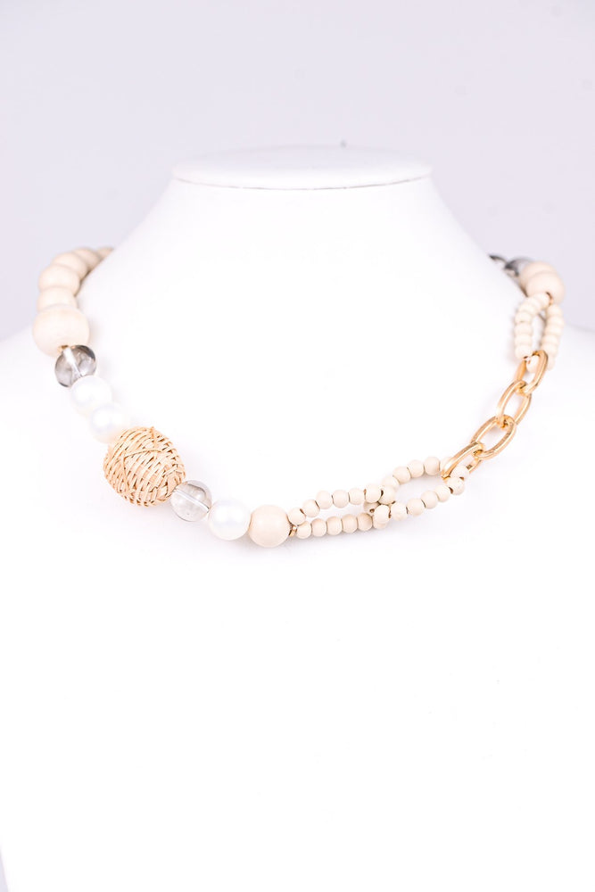Ivory Wood/Straw/Pearl/Gold Chain Link/Beaded Necklace - NEK3174IV