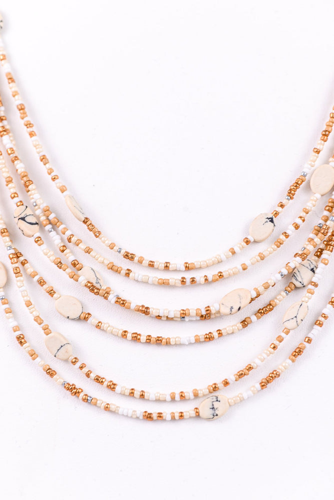 Ivory/Gold/Beige Marble/Beaded Necklace - NEK3175IV