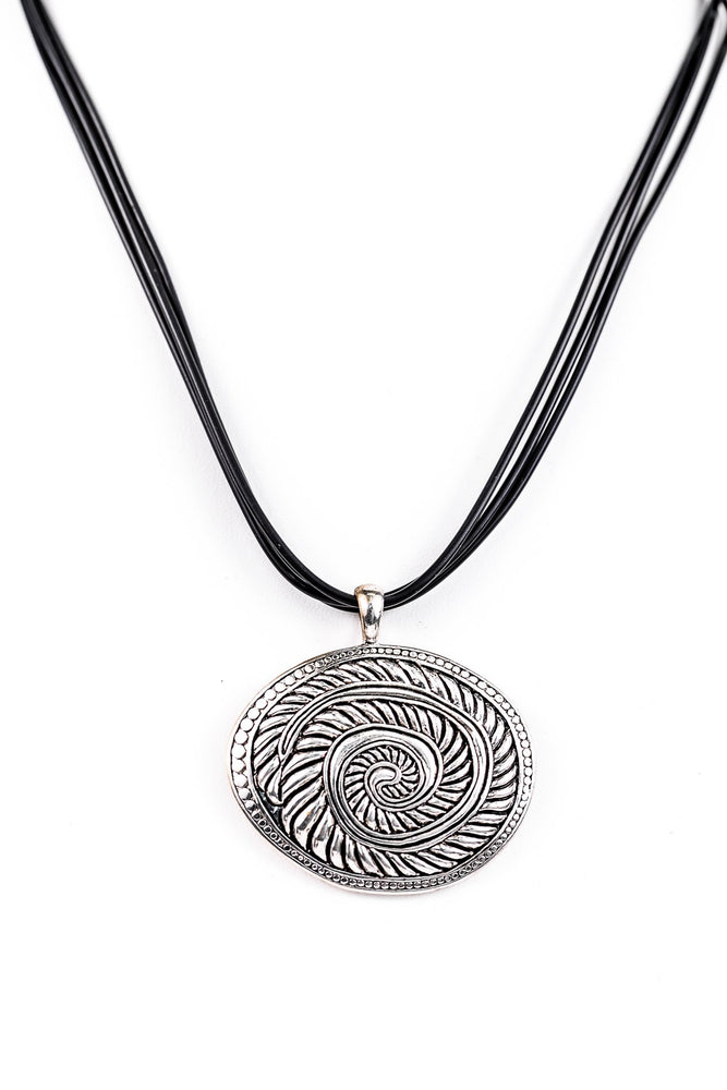 Silver/Black Ornate Pendant On Triple Black Cord Necklace - NEK3184SI