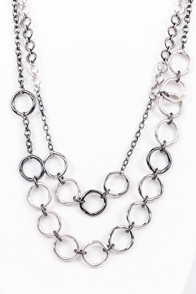 Silver/Platinum Hoop Chain Necklace - NEK3182SI