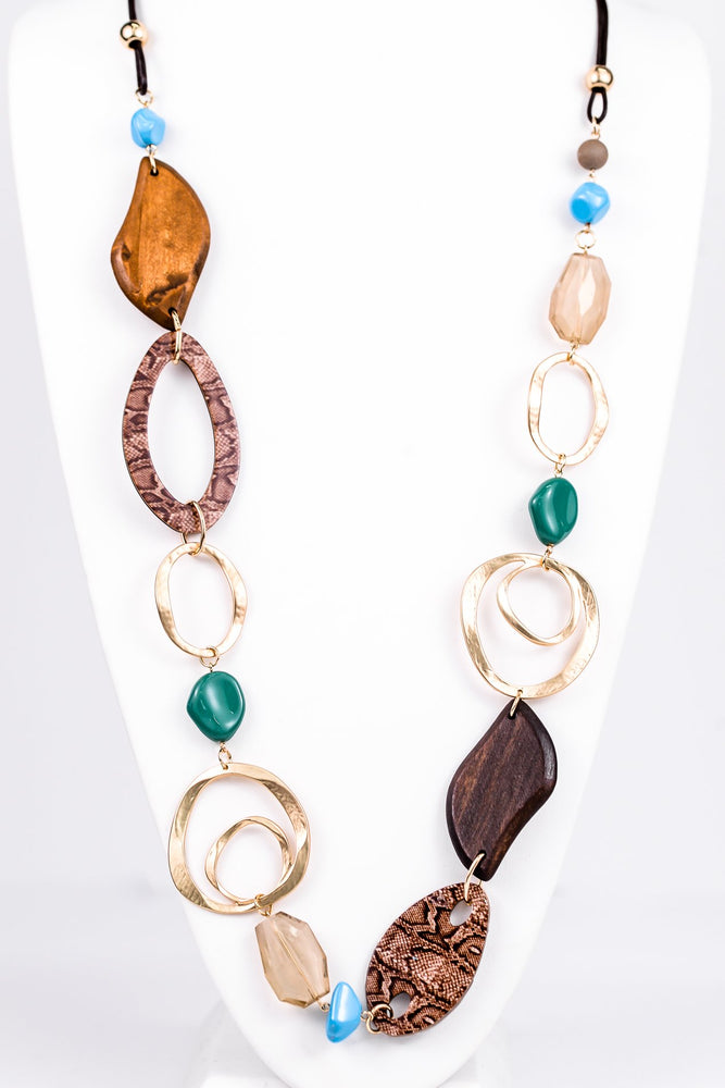 Gold/Brown Snakeskin/Multi Color Statement Necklace - NEK3207GO