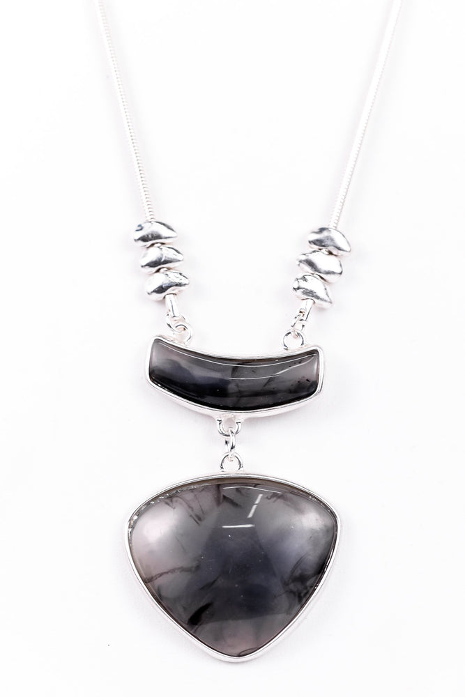 Silver/Black Marble Double Pendant/Beaded Necklace - NEK3209SI