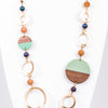 Gold/Green/Wood/Iridescent Beaded Statement Necklace - NEK3205GO