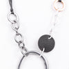Silver/Gold Hoop/Gray Leather Link On Multi Strand Cord Necklace - NEK3194SI