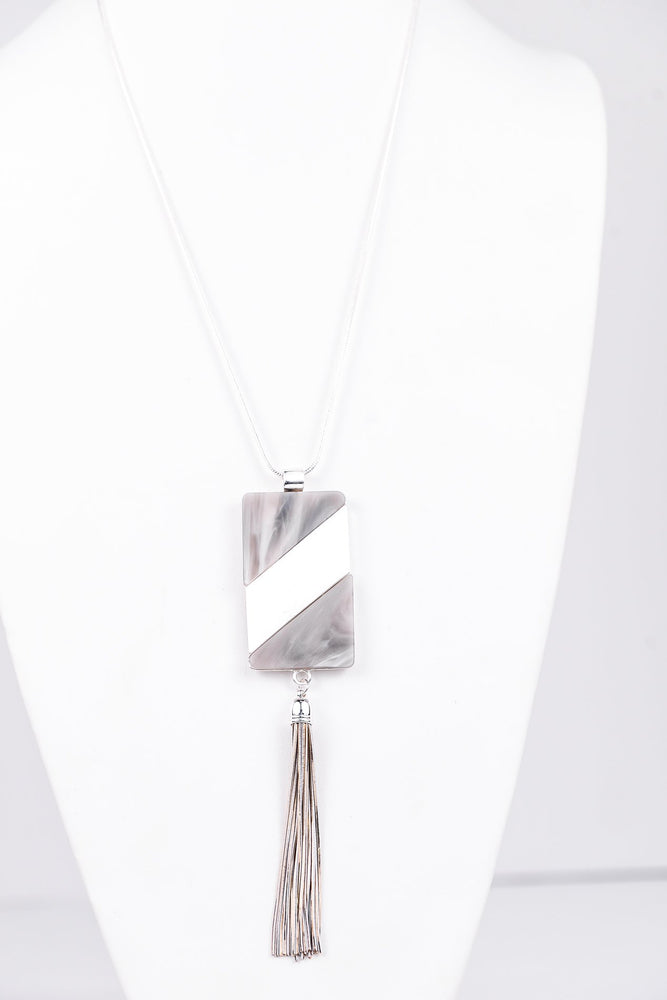 Silver/Gray Marble Rectangle With Tassel Necklace - NEK3190SI