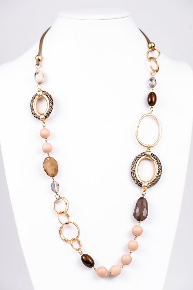 Beige Snakeskin/Gold Hammered Link/Beaded Statement Necklace - NEK3196BG