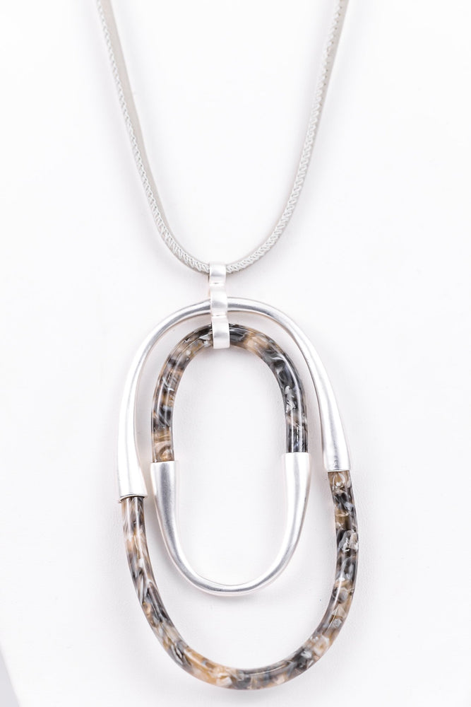 Silver/Gray Marble Double Oval Pendant Necklace - NEK3195SI