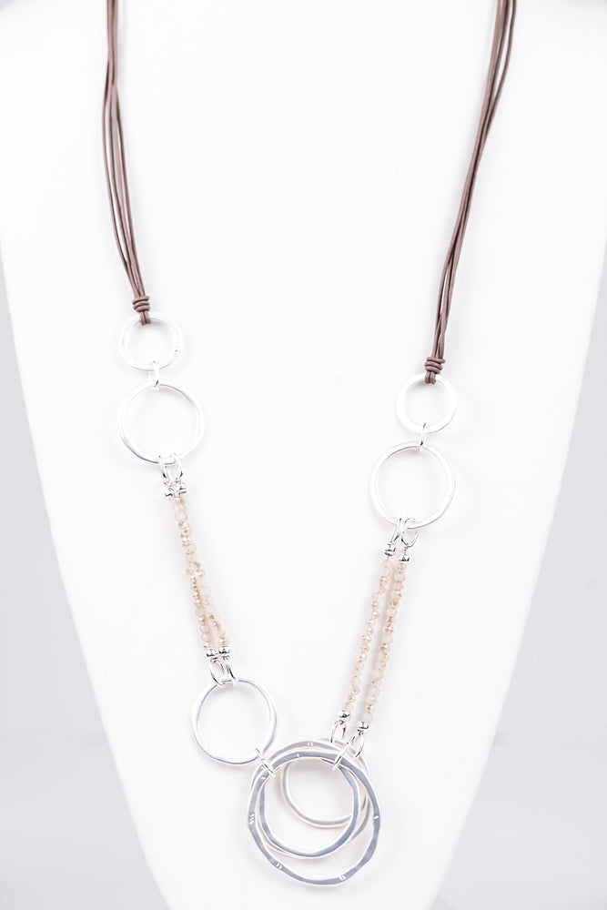 Silver Hammered Hoop/Ivory Beaded On Multi Strand Cord Necklace - NEK3193SI