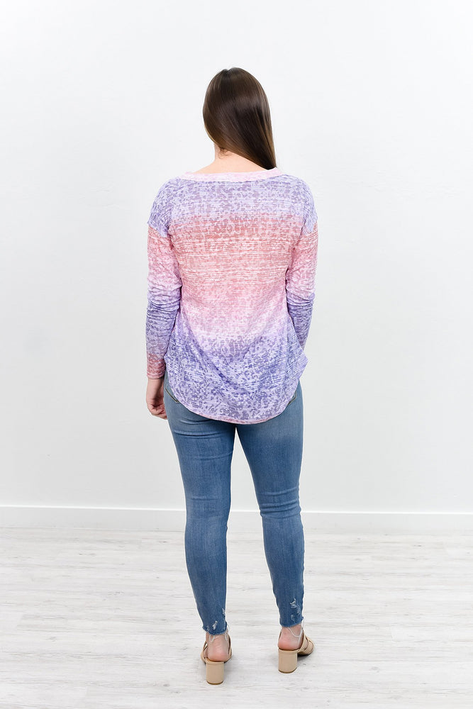 Found The Right One Purple/Rose Multi Pattern V Neck Top - B7941PU