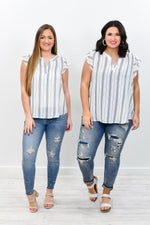 You're Giving Me Life Off White/Navy Striped V Neck Top - B7942OW