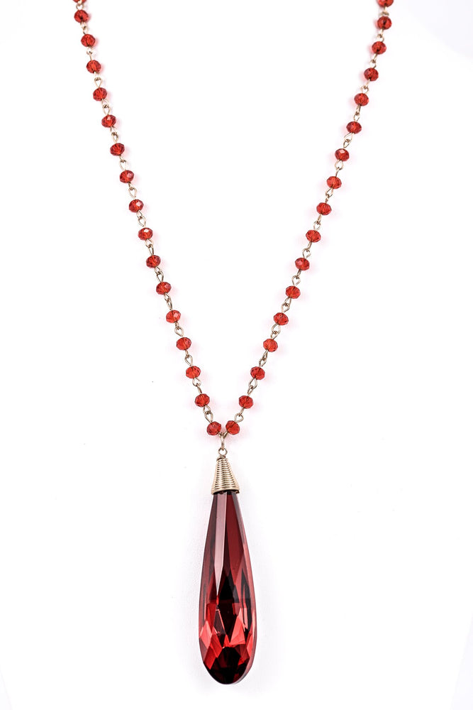 Red Crystal Teardrop Beaded Necklace - NEK3222RD