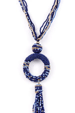 Blue/Gold Seed Bead Hoop Tassel Necklace - NEK3215BL