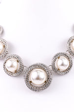 Silver Pearl Statement Necklace - NEK3225PR