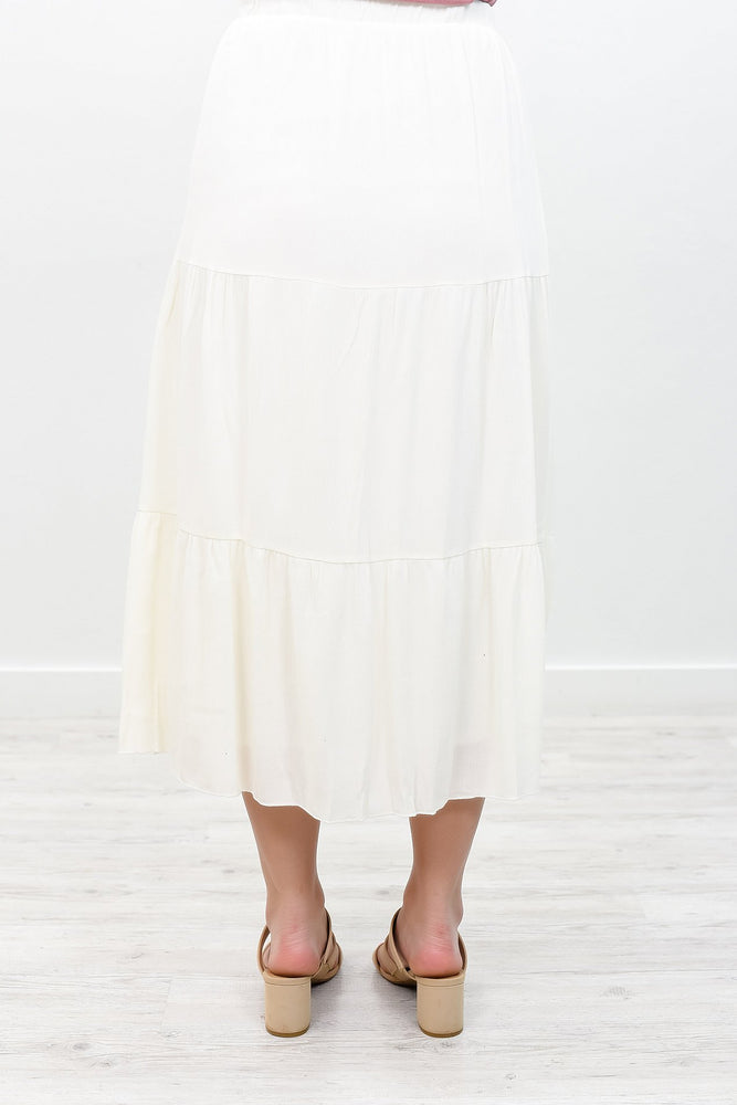 Sweet As You Off White Solid Skirt - E1045OW