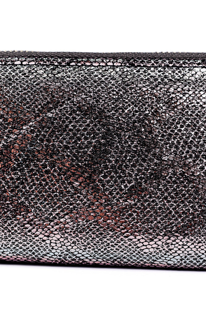 Gray Metallic Snakeskin Zip Wallet - WAL1038GR