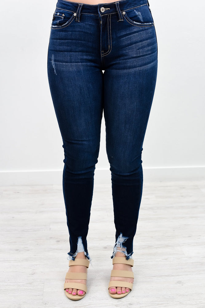 Everything I Could Want Dark Denim Distressed Jeans - K407DN