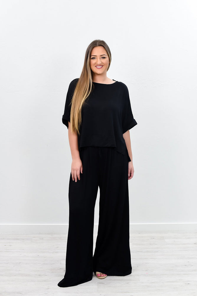 Comfortable Moments Black Flare Pants - PNT1128BK