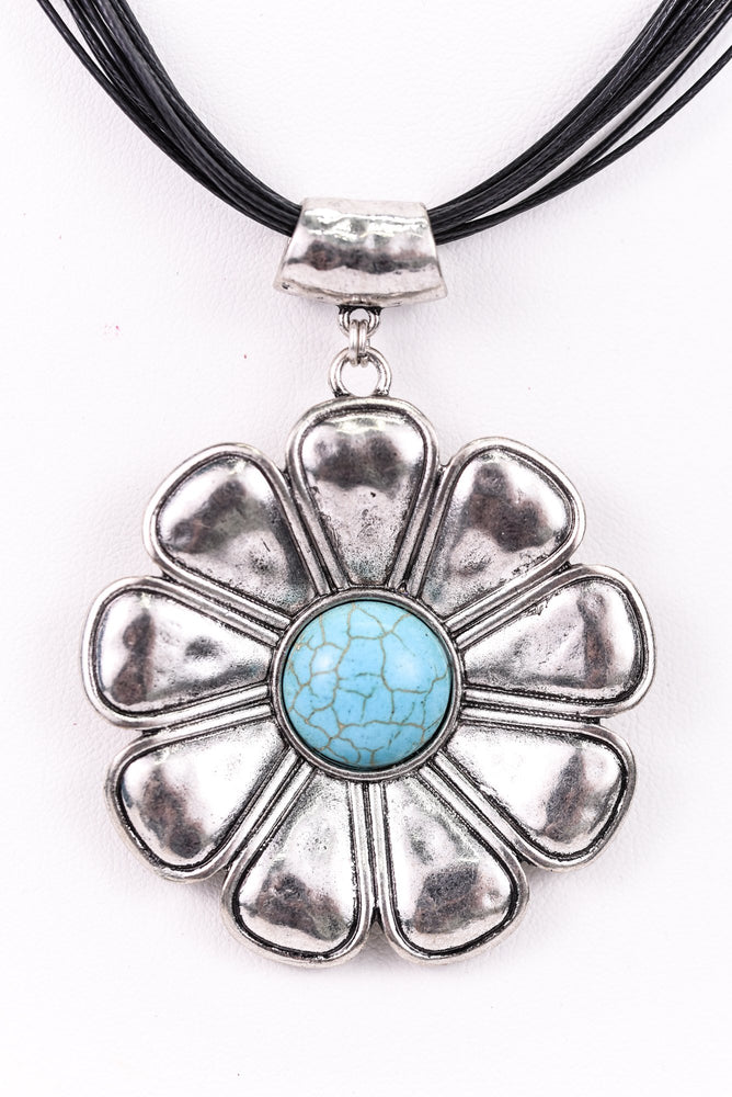 Silver/Turquoise Flower Pendant On Multi Black Cord Necklace - NEK3242SI